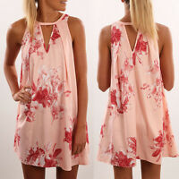 UK 8 10 12 14 Womens Holiday Print Mini Dress BOHO Summer Short Beach Sundress