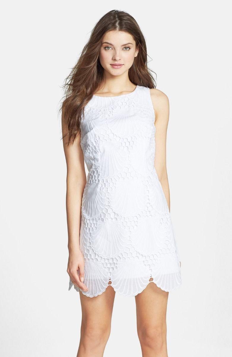 Nuevo Lilly Pulitzer Delia Jumbo Orificios whiteo Concha Vestido Recto 6