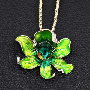 Women-039-s-Fashion-Enamel-Crystal-Flower-Pendant-Betsey-Johnson-Necklace-Brooch-Pin