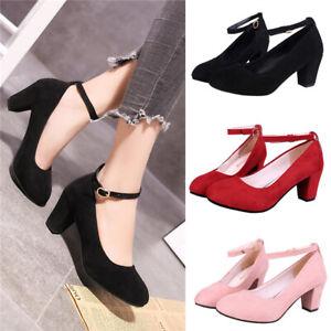 Womens Ankle Strap Low Block Heels