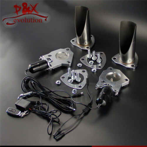 """2x 2.25/"""" 57mm Electric Stainless Exhaust Cutout Cut Pipe with Remote control Kit"""