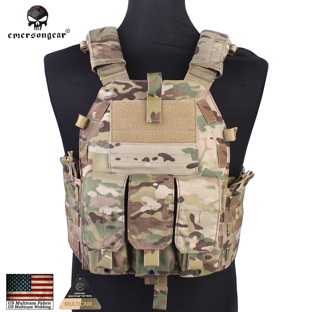 Emerson 094K Tactical  Vest Plate Carrier Body Armor With Mag Pouch Military Gear  for sale online