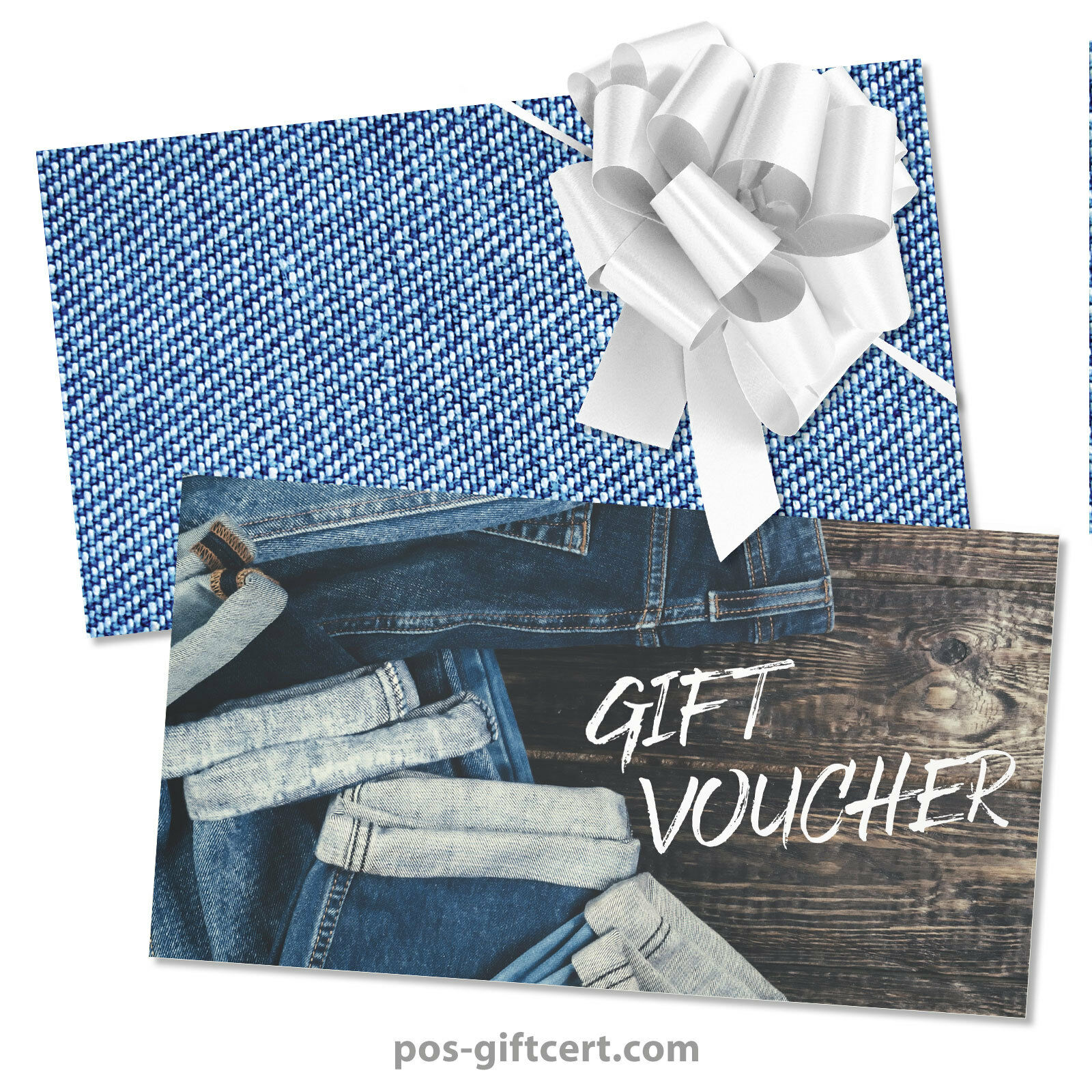 Gift vouchers + envelopes + pull bows for fashion boutique jeans FA1263GB