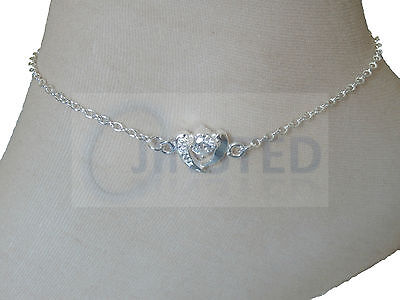 Practical Silver Heart Jewelled Anklet Bracelet Anclet Foot Ankle Womens Jewellery Anc022 Evident Effect Anklets