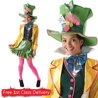 Adult Disney Ladies Mad Hatter Official Costume Wonderland Fancy Dress 6-18