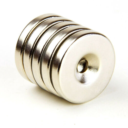 2pcs Strong Round Magnets 30mm x 5mm Countersunk Hole 5mm Rare Earth Neo N35