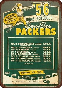 1956-Green-Bay-Packers-Home-Schedule-Rustic-Retro-Metal-Sign-8-034-x-12-034