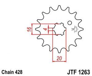 JT Ritzel 14 Zähne passend für Yamaha DT RD RS SR TY XT YBR 125; DT 175; RD 200