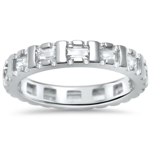 BEAUTFUL 1.5CT BAGUETTE CZ ETERNITY BAND .925 Sterling Silver Ring SIZES 5-10