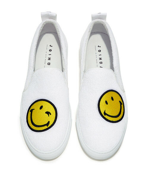 Joshua Sanders Terry Towelling White Smiley Face Slip-On  sz 41   11 rare
