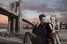 CHRIS CONSANI ~ BROOKLYN NIGHT 24x36 ART POSTER Marilyn Monroe James Dean Bridge