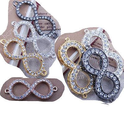 crystal rhinestone infinity infinite bracelet connector charm karma sideways DIY