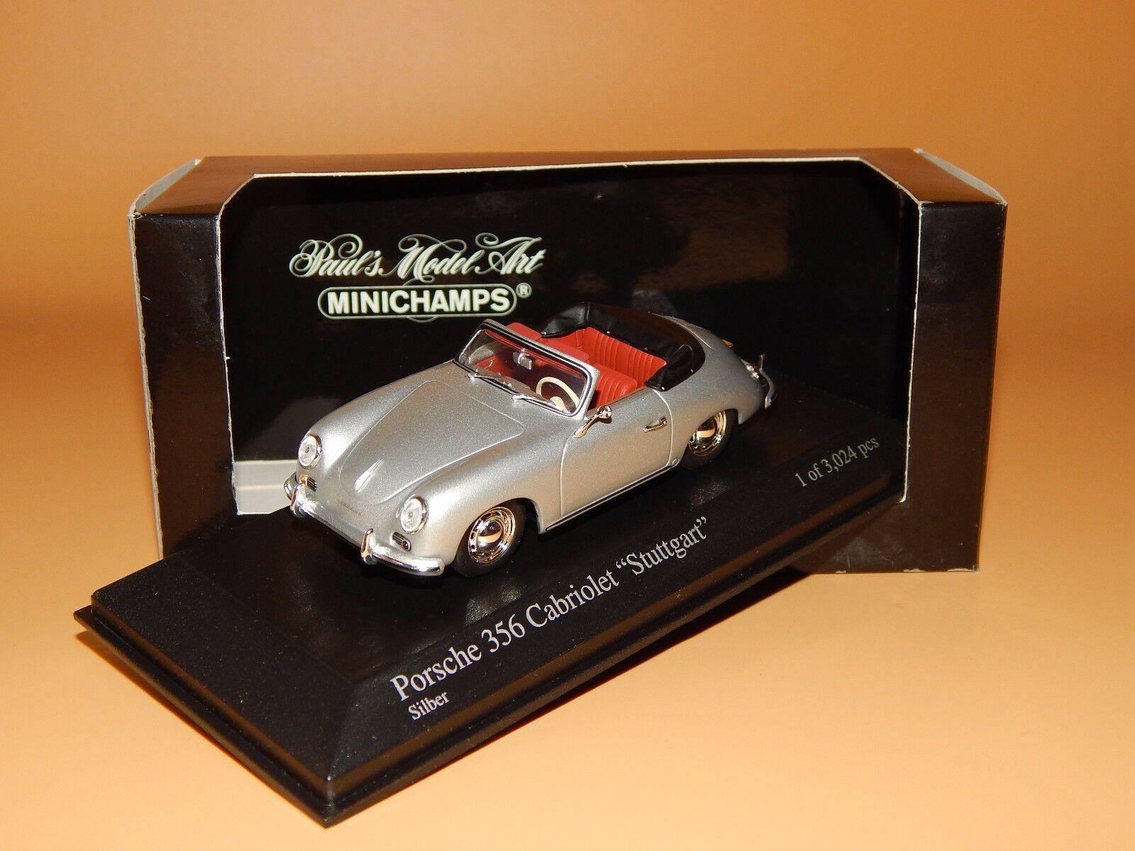 Porsche 356  stuttgart    cabriolet plata 400065030 Minichamps scale 1 43 o V p 5bf8e3