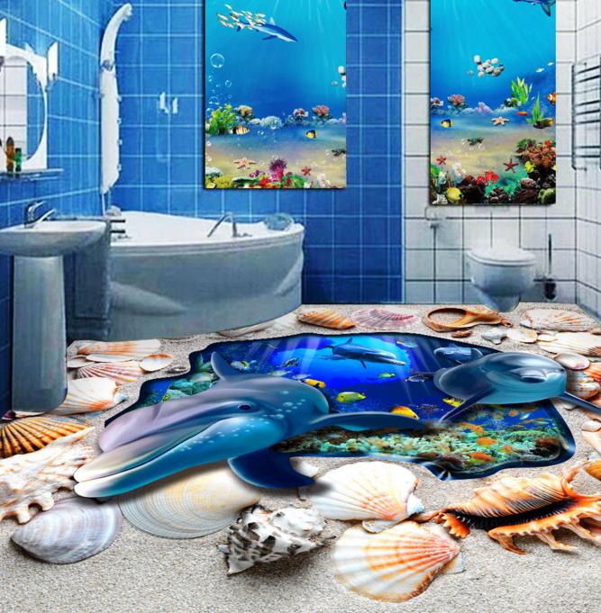 3D 3D 3D Dolphin Shells 4 Floor WallPaper Murals Wallpaper Mural Print AJ WALLPAPER AU 516d92