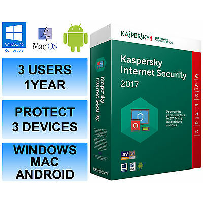 Kaspersky Internet Security Multi Device 2017 3 Users / PC 1 Year Activation Key
