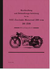 NSU 201 ZDB (Blockmotor) Bedienungsanleitung Betriebsanleitung Handbuch Manual