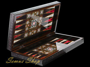 LUXUS-BACKGAMMON-TAVLA-Intarsien-Look-XL-Sedef-Tavla-B-WARE