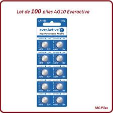 Lot 100 piles bouton AG10/LR54 alcaline Everactive, livraison rapide et gratuite