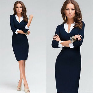 Elegant-Women-Office-Lady-Formal-Wear-Business-Work-Party-Pencil-Dress-Suit-OL