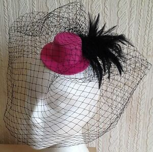black-veiling-feather-pink-mini-top-hat-fascinator-millinery-wedding-party-race
