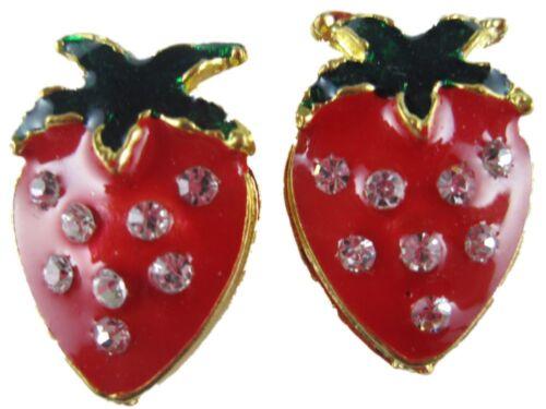 Ohrringe Ohrstecker Erdbeere Strawberry glänzender Enamel Sommer rot Straß NEU
