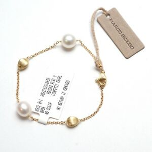 New-MARCO-BICEGO-18K-Gold-Chain-7-4-034-Bracelet-with-Pearls