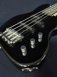 1/2 Haze SBG-387BK Gloss Black 4-String Electric Bass Guitar +Free Bag, Strings