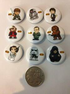 NEW-Lot-of-9-Cartoon-Star-Wars-Badges-3cms-diameter-for-party-loot-bag-favours