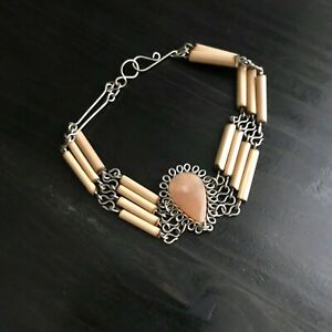 Carved-Agate-amp-Wood-Tube-Bracelet-Artist-Made-Looped-Wire