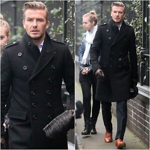 DAVID BECKHAM STYLISH WOOLEN BLACK DOUBLE BREASTED TRENCH PEA COAT ...
