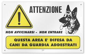 Cartello-vinile-4-fori-034-Attenzione-Area-Difesa-da-Cani-da-Guardia-Addestrati-034