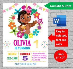 Personalized Moana Baby 1st Birthday Party Invitation Digital Invite Printable