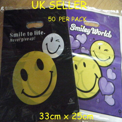 FASHION SMILEY FACES BLACK OR PURPLE CARRIER BAGS 40+PACK 25cm x 25cm SHOPS GIFT