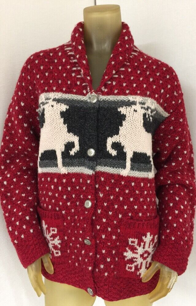 WOMEN'S LIMITED CARDIGAN SWEATER REINDEER HAND KNIT 100% WOOL RED SMALL