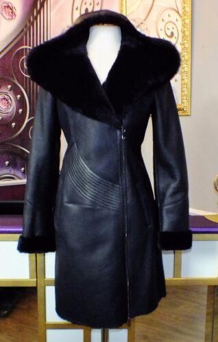 montone da 38 lusso 34 con nuovo in pelle cappuccio taglia di 40 vera di Cappotto 36 donna w6XIqpxnH