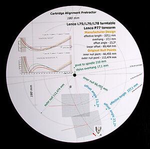 Lenco-L75-L76-L78-amp-P77-Custom-Designed-Tonearm-Stylus-Alignment-Protractor
