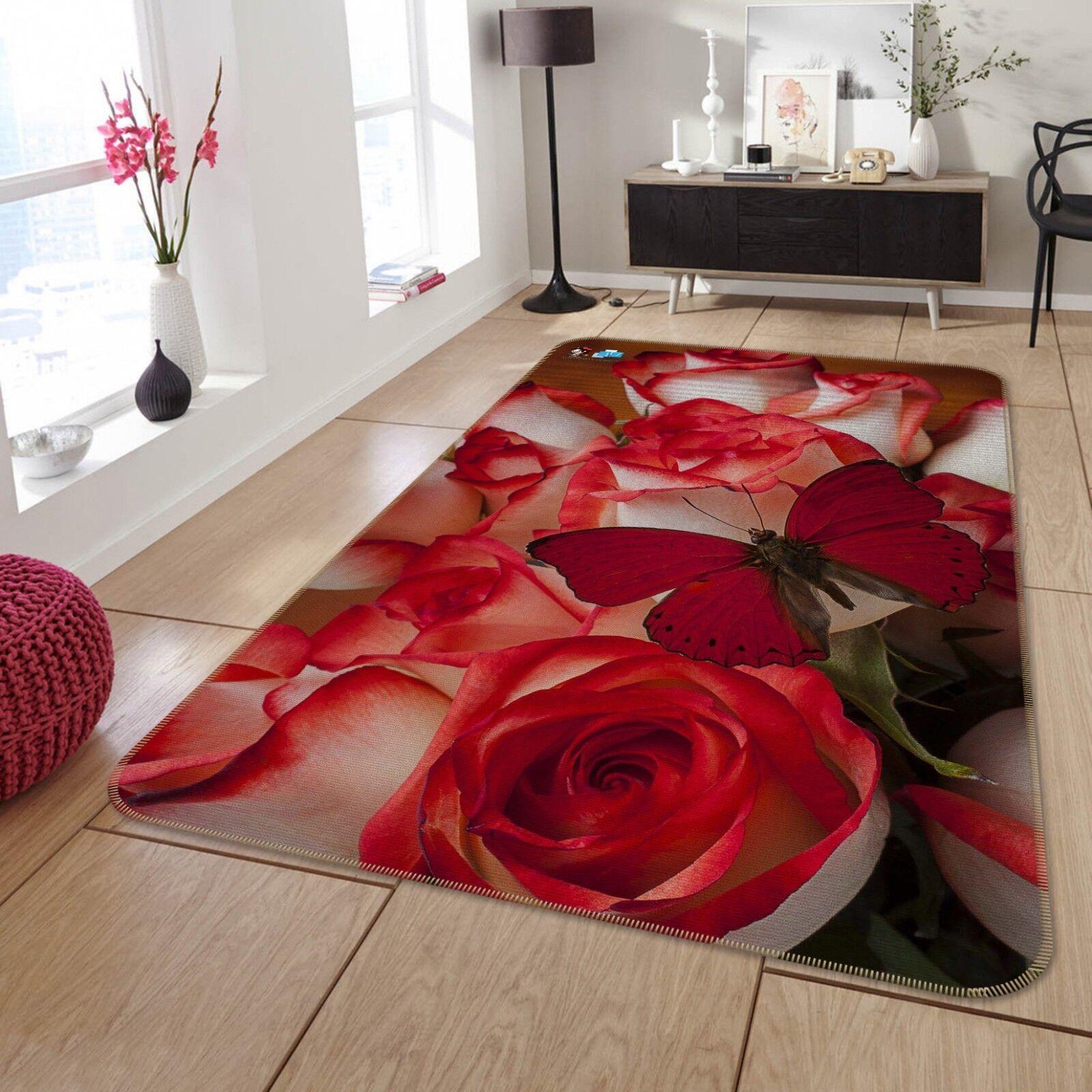 3D Flor Mariposa Alfombra colchoneta de 68 Antideslizante Alfombra De Sala Elegante De Calidad Foto Alfombra