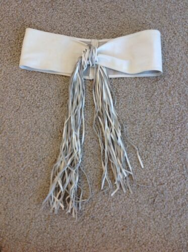 FABULOUS FRINGED WHITE LEATHER BELT Now Reduced