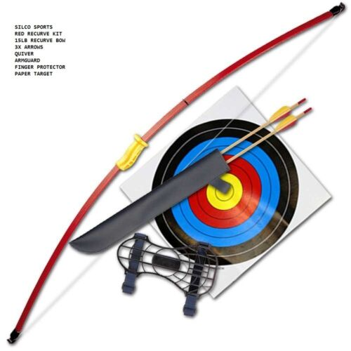 FAMILY RECURVE JUNIOR RED YOUTH LONGBOW SET 3XARROWS & 5 x 40cm TARGETS