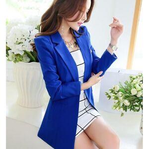 nuovo concetto 55a8b 15690 Dettagli su tailleur giacca donna slim lunga manica lunga blu elettrico  estate S9025
