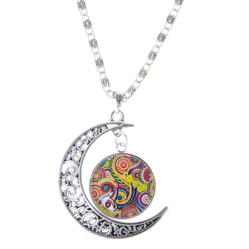 Chic Women Party Flower Tree Life Crescent Moon Glass Cabochon Pendant Necklace