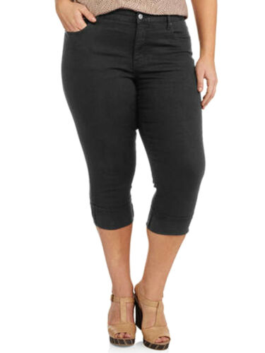 New Ladies Faded Glory Black Crop Jeans Tummy Control Trouser Capri  Plus Size