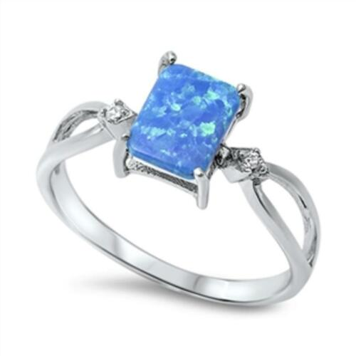 USA Seller Ring Sterling Silver 925 Best Deal Jewelry Blue Lab Opal Size 6