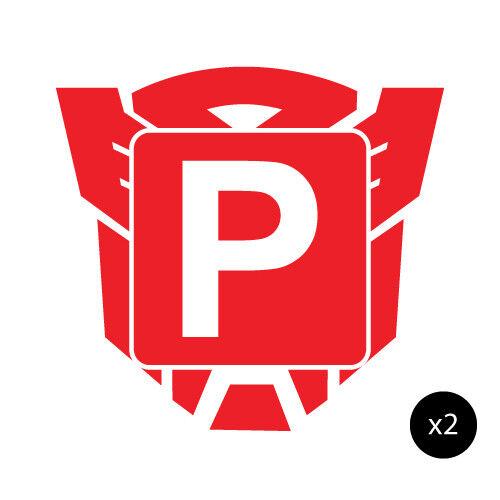 2x p plate red autobot jdm sticker decal car 0457st