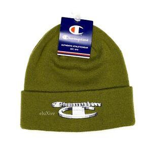 e231dae6aaa2a NWT Supreme x Champion 3D Metallic Logo Beanie Hat Cap Olive FW18 DS ...