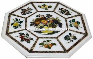 15-034-White-Marble-Coffee-Table-Top-Handmade-Fruits-Inlay-Design-Arts-Decorative