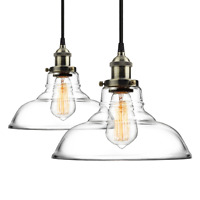 2 Island Pendant Light Fixture Glass Industrial Ceiling Hanging Clear Lamp