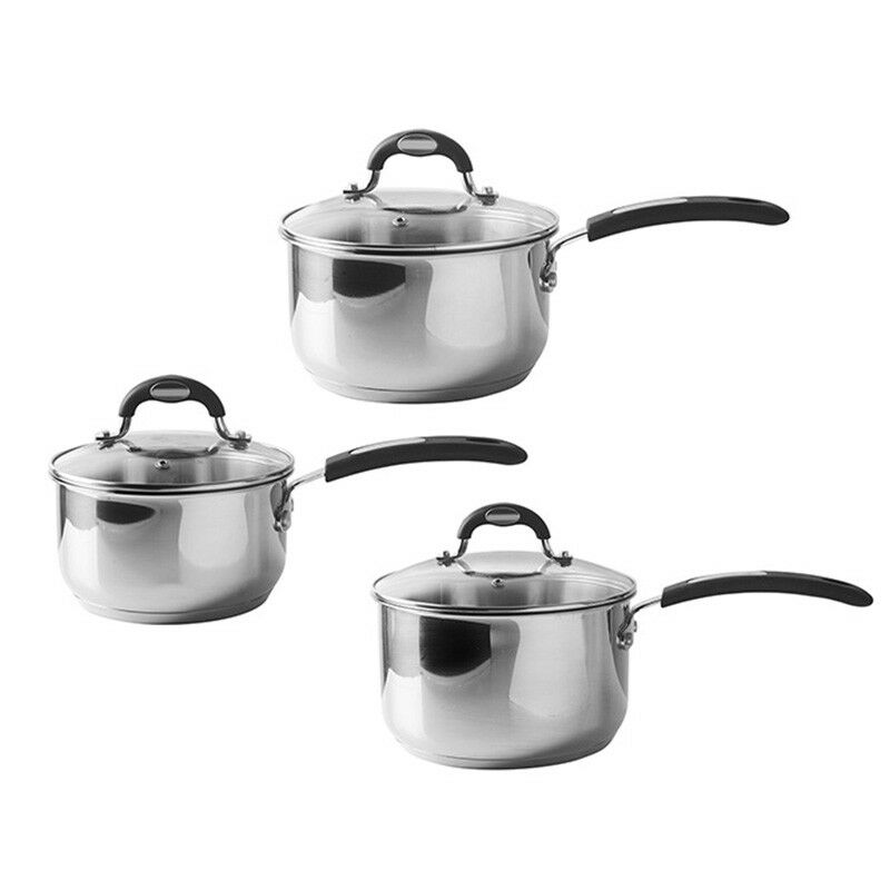 Viners Set of 3 Saucepans Soft Grip Stainless Steel Pan Set Induction Safe NEW