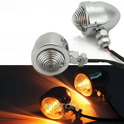 Motorcycle 2pcs Chrome Bullet Turn Signals Lights For Honda VTX 1300 C R S RETRO