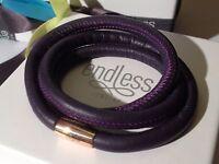 Endless Jewelry 54cm Purple Bracelet Triple Strand Rose Clasp Rrp £55